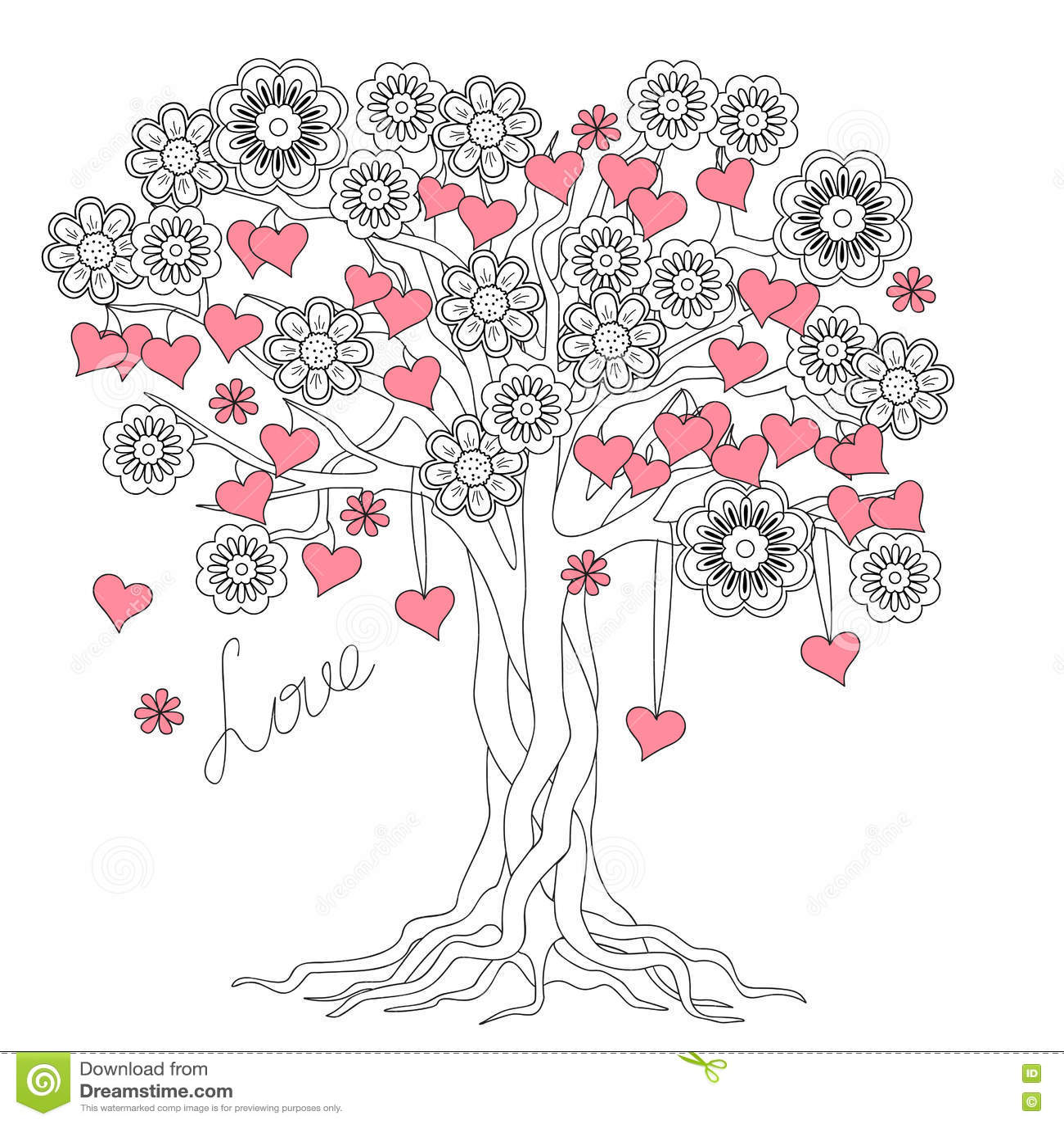Arbre de l amour avec des racines et des fleurs libre de droits