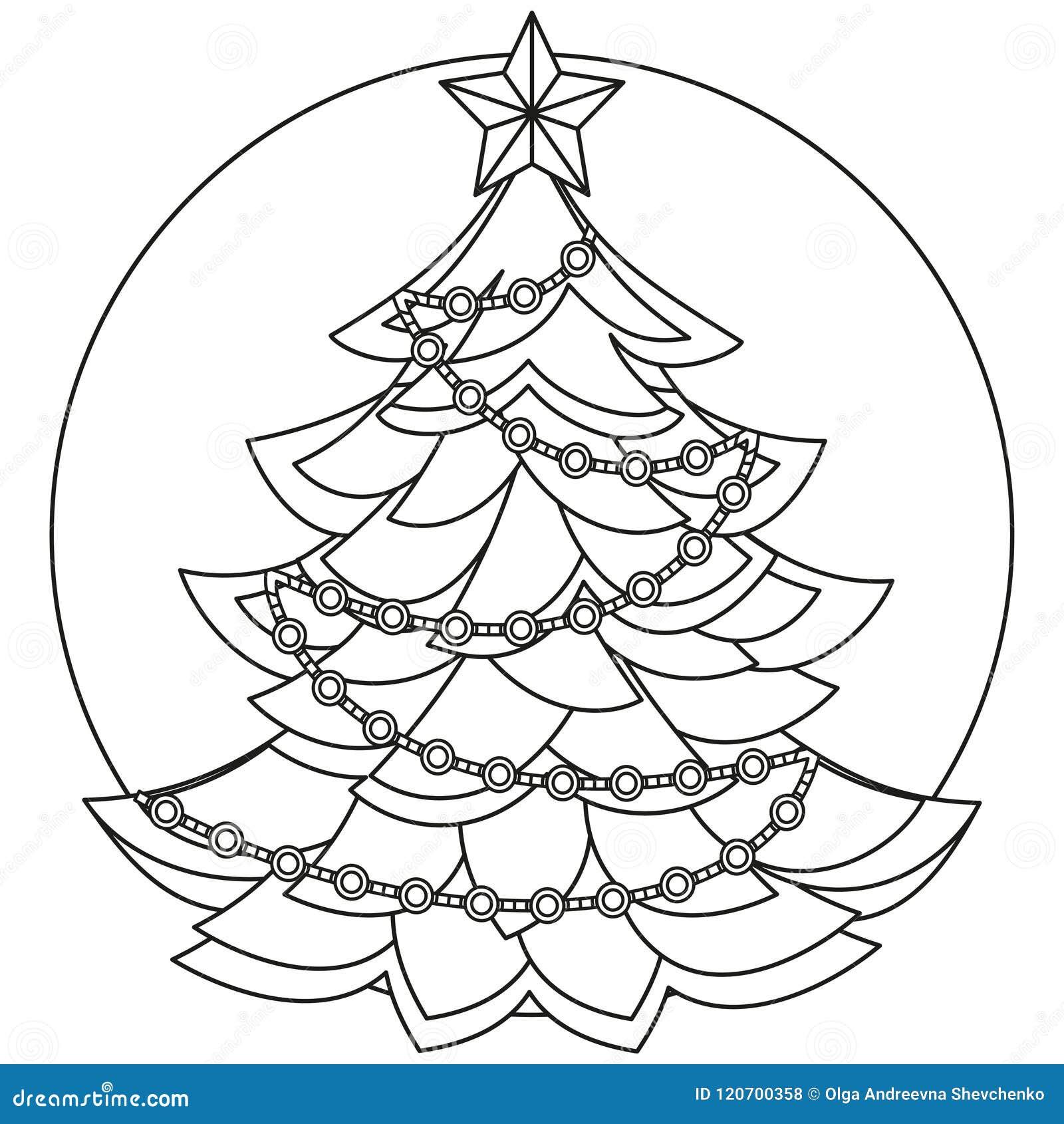 Arbre De Noël Noir Et Blanc De Schéma Illustration De