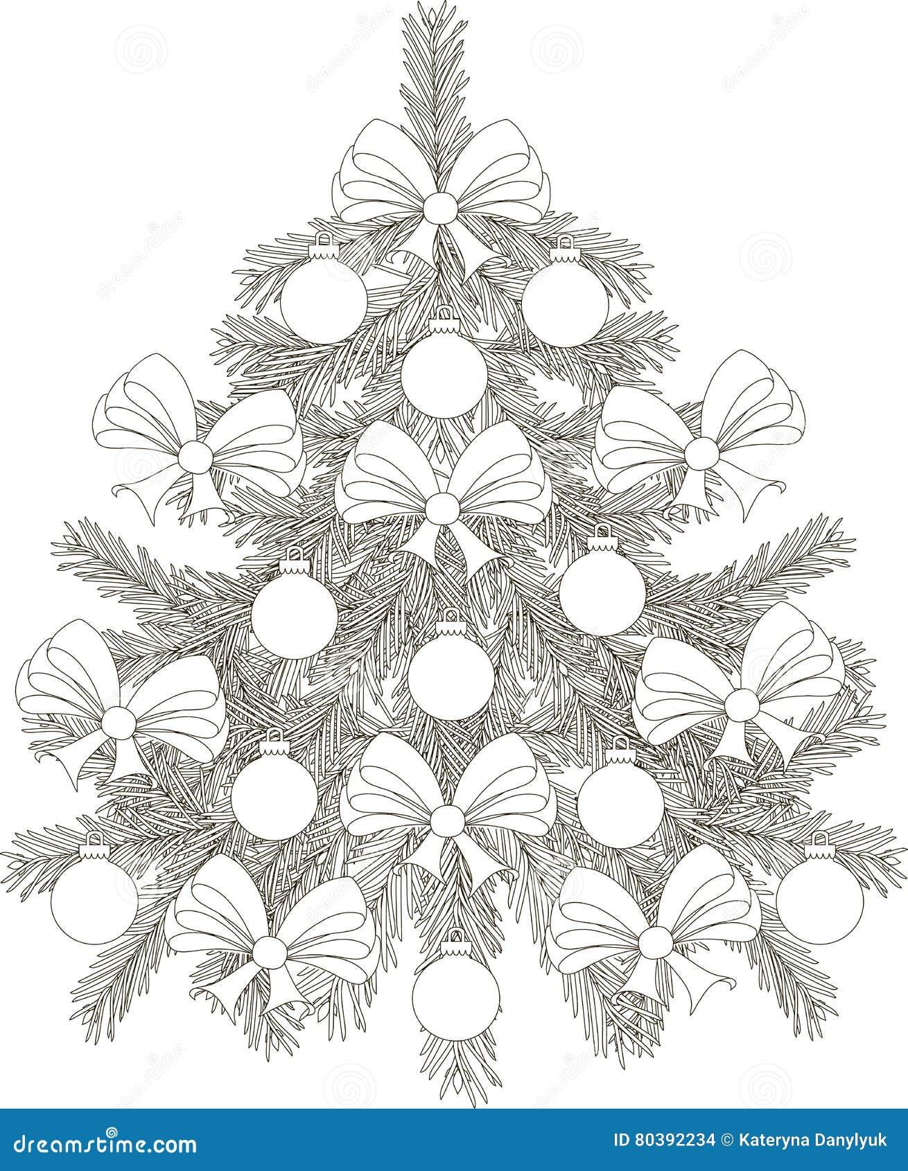 Arbre De Noël Noir Et Blanc Tiré Par La Main De Croquis