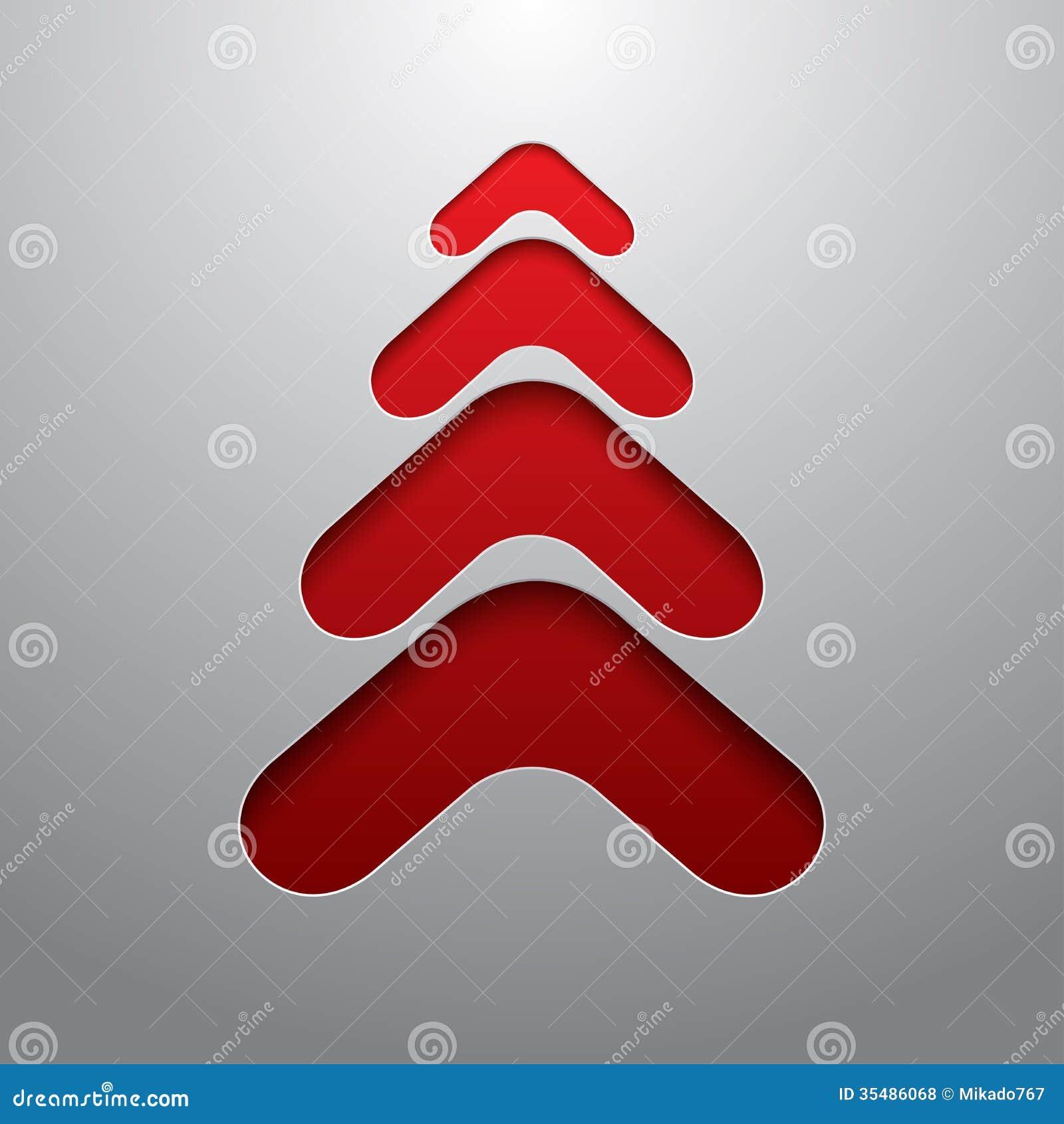 Arbre de Noël rouge de la techno 3d