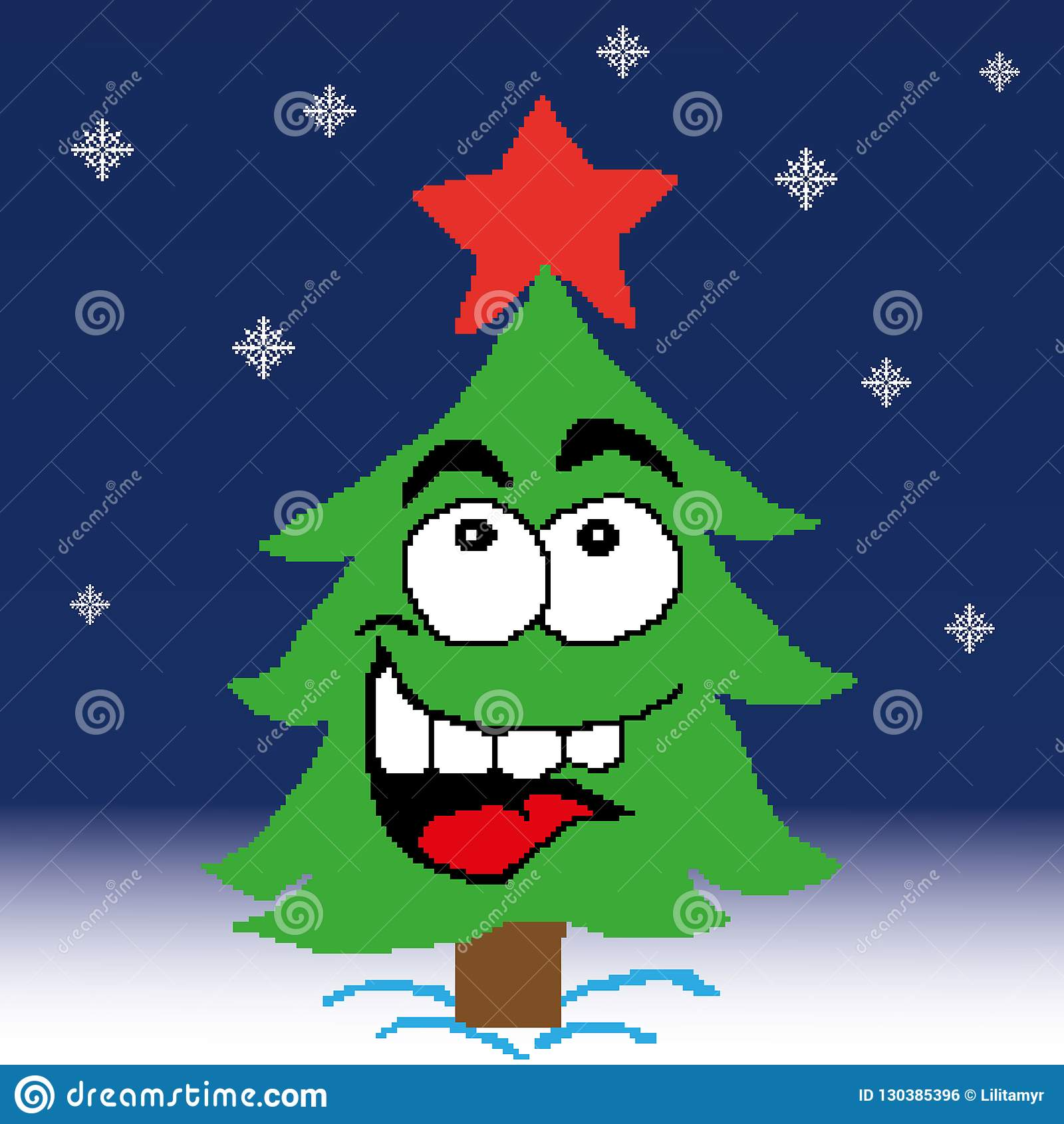 Arbre De Noël Arbre De Sapin Avec Une étoile Rouge Peinte