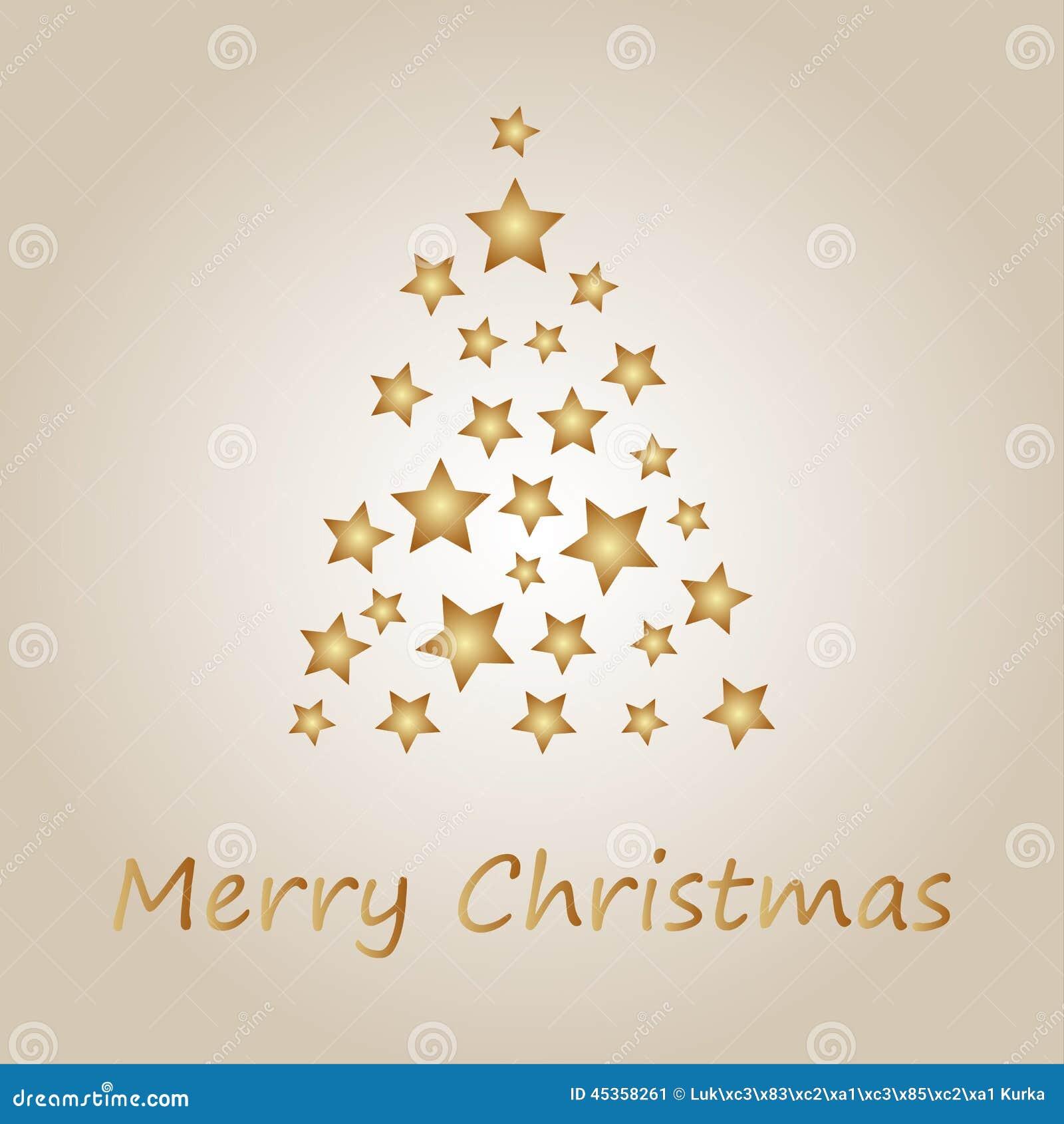 Arbre de Noël simple d or des étoiles
