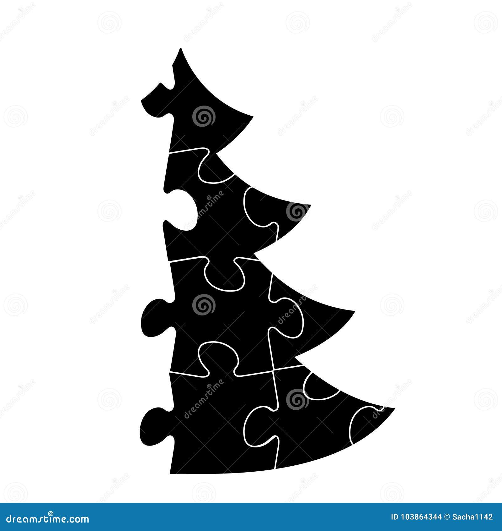 Arbre De Noel Simple De Vecteur Fait A Partir Du Puzzle