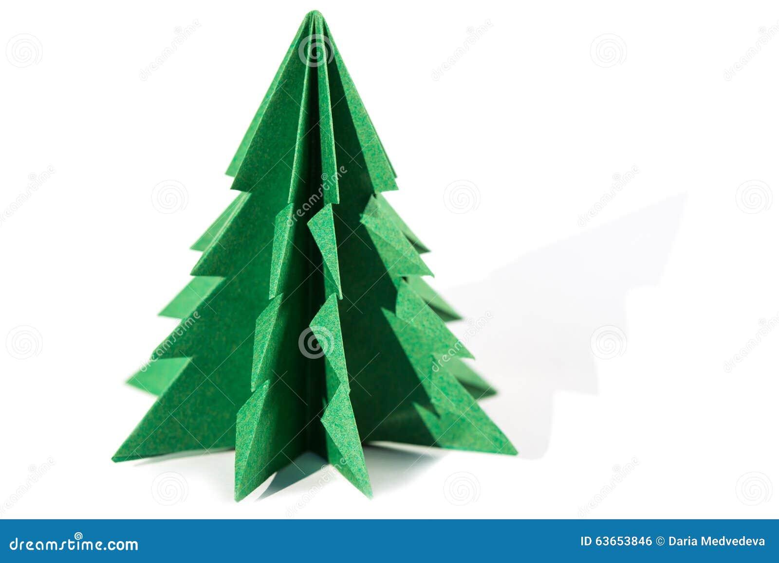 Arbre de no l de papier origami d 39 isolement sur le fond blanc photo stock image 63653846 - Arbre de noel origami ...