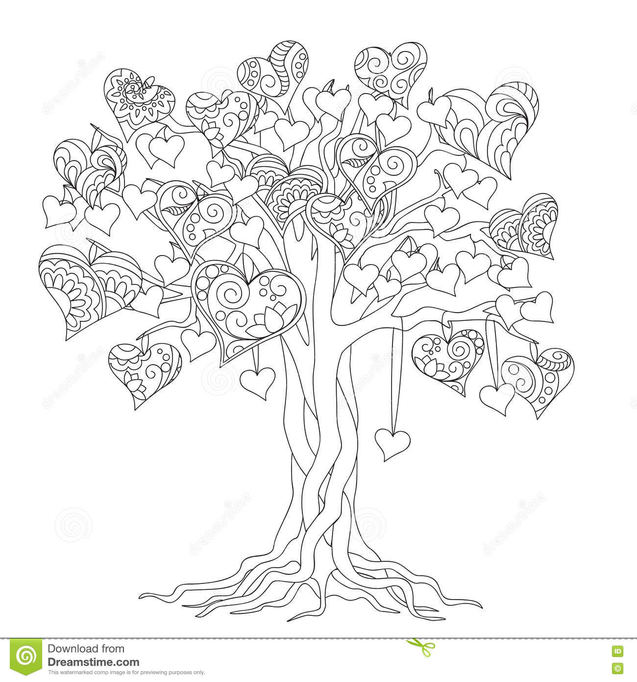 Coloriage Arbre Anti Stress.Arbre De Zen De L Amour Illustration De Vecteur Illustration Du