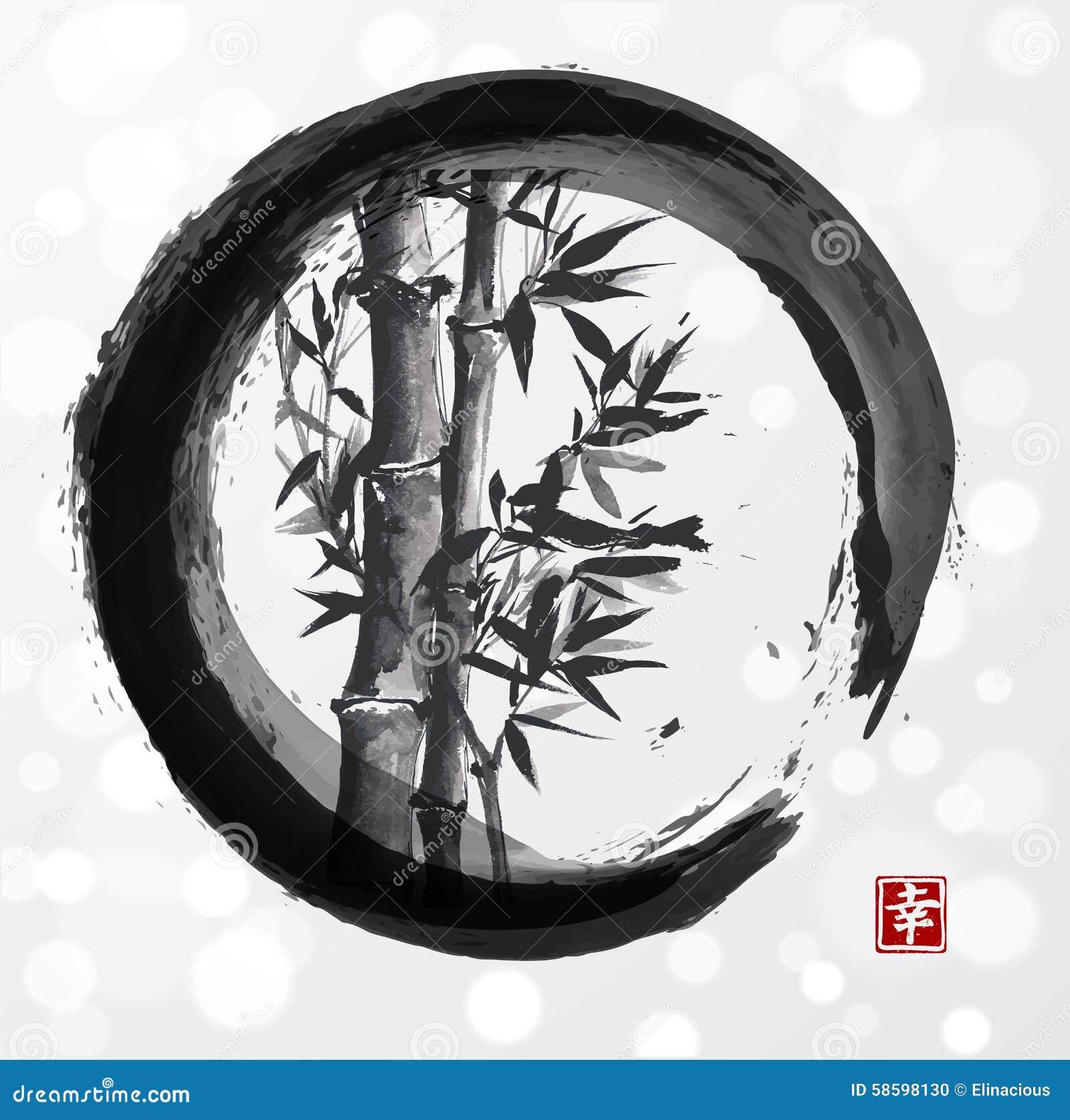 Arbre en bambou en cercle de zen d enso