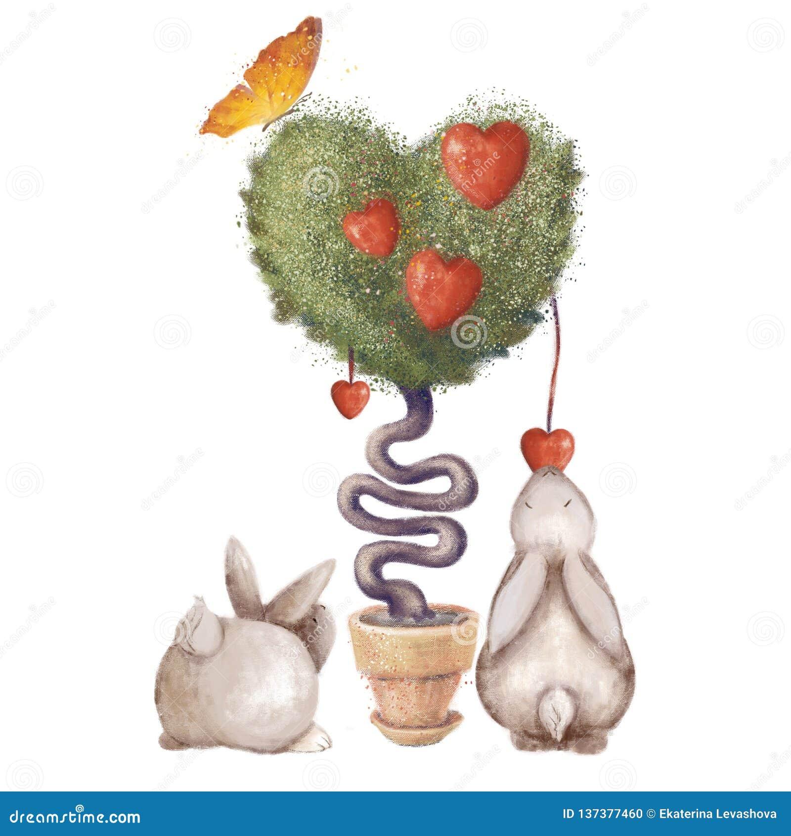 Arbre en forme de coeur avec des feuilles et un papillon Lapins mignons Illustration simple d isolement sur le fond blanc Amour
