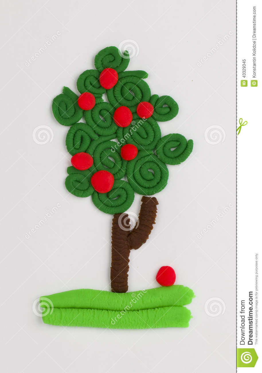 Arbre fruitier de p te modeler photo stock image 43329345 for Arbre fruitier