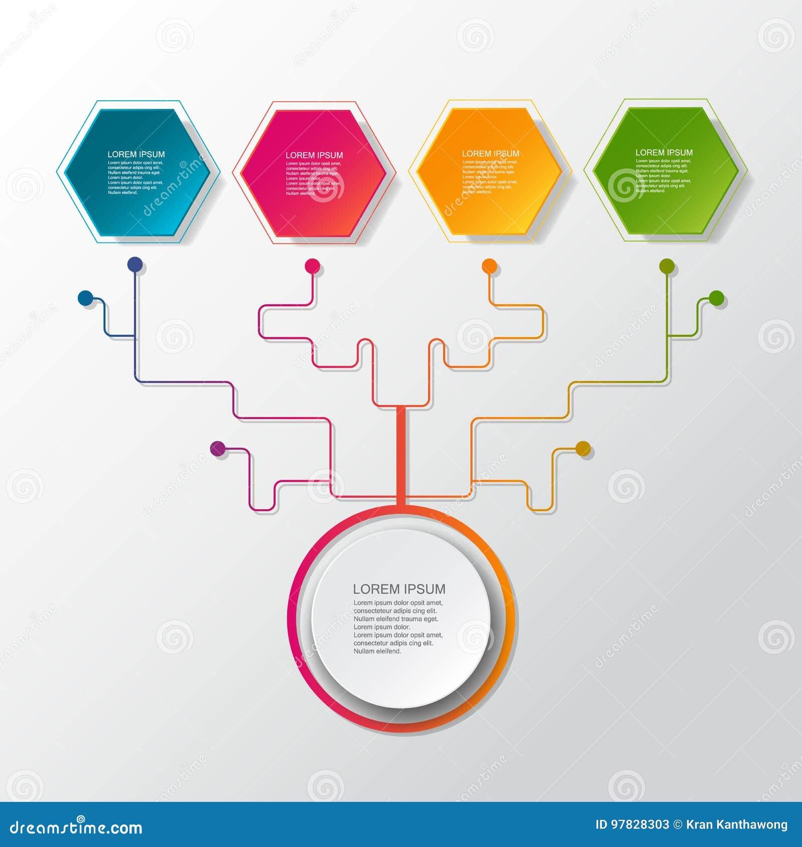 Arbre infographic d affaires de vecteur avec le label du papier 3D, cercles intégrés Espace vide pour le contenu, affaires, infog