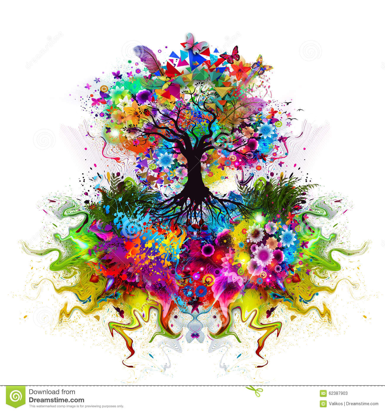 Arbre multicolore abstrait avec des racines illustration for Pintura color albero