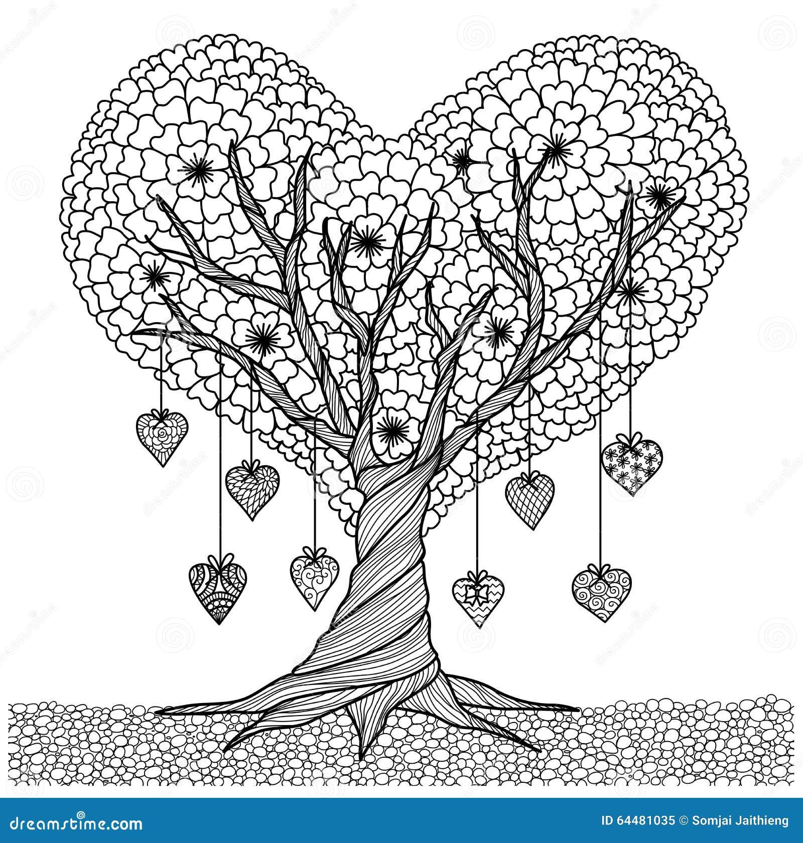 Coloriage Adulte Coeur.Arbre Tire Par La Main De Forme De Coeur Pour Livre De Coloriage
