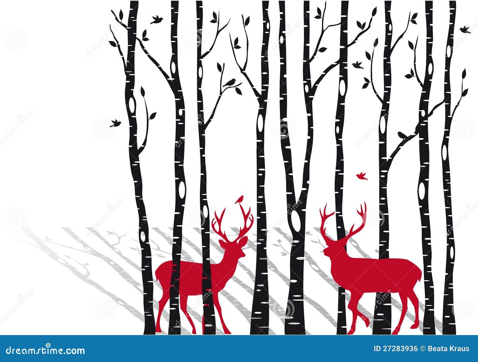 #BF0C26 Arbres De Bouleau Avec Des Deers De Noël Vecteur Image  5331 décorations de noel avec bouleau 1300x1000 px @ aertt.com