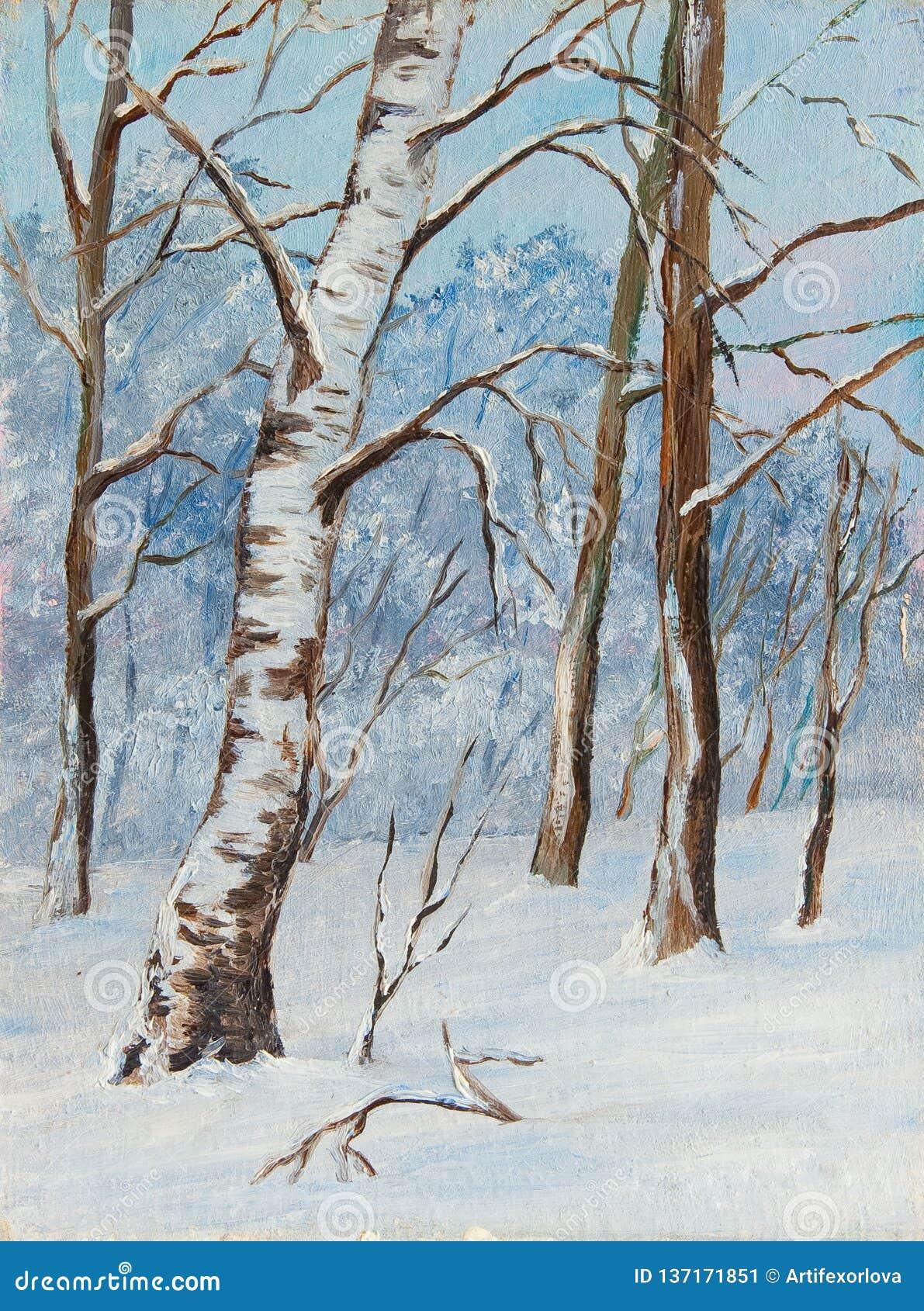 Arbres De Bouleau De Paysage D'hiver Dans La Neige Sur Une Toile Peinture à L'huile Initiale ...