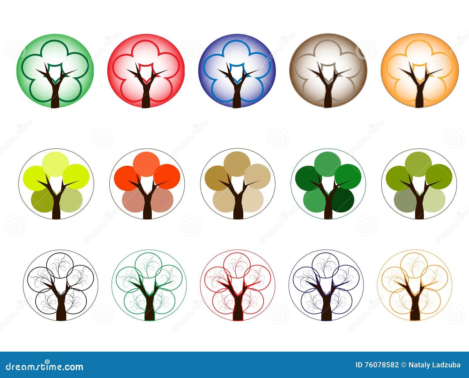 Arbres de différentes couleurs