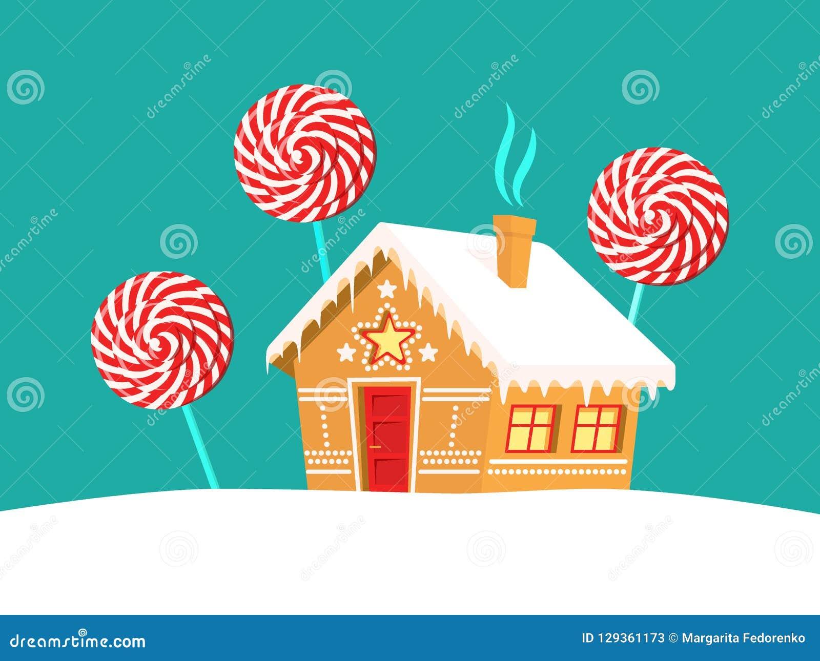 Arbres de maison et de lucette de pain d épice autour de lui Noël, nouvelle année, carte de vacances d hiver