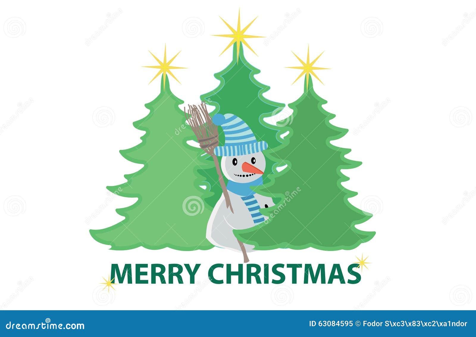 Download Arbres De Noël Et Un Bonhomme De Neige Illustration de Vecteur - Illustration du arbres, plat: 63084595