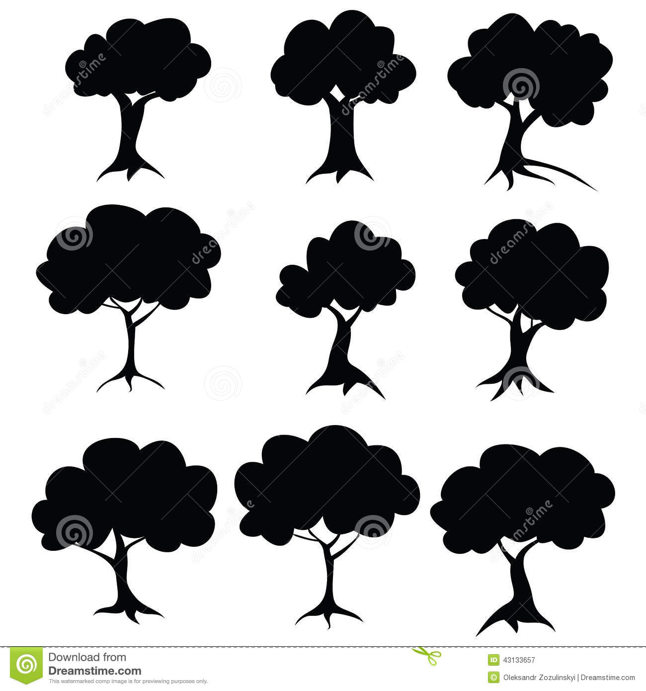 Arbres de pochoir trame 1 1 illustration stock image for Pochoir arbre