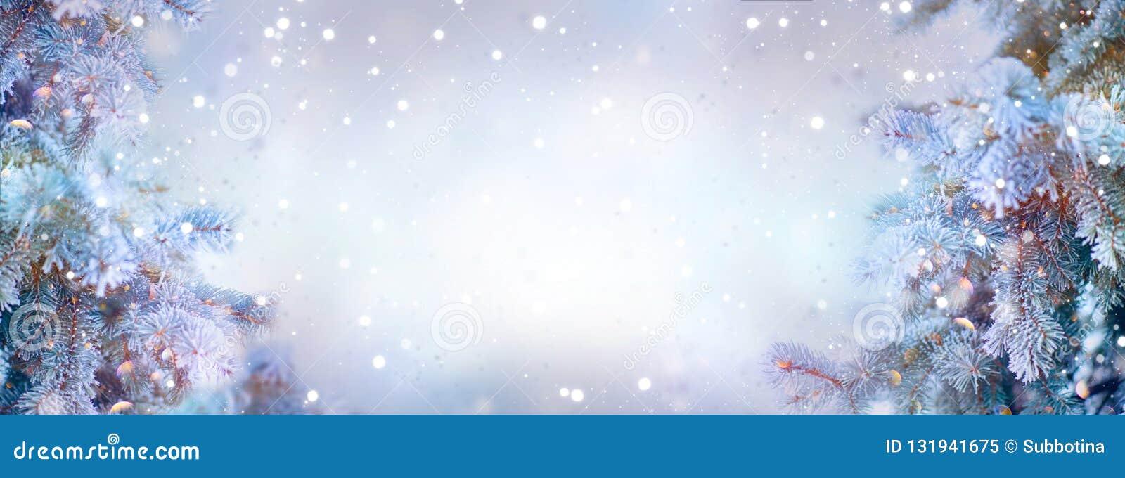 Arbres de vacances de Noël Fond de neige de frontière Flocons de neige Sapin bleu, beau Noël et conception d art d arbres de Noël