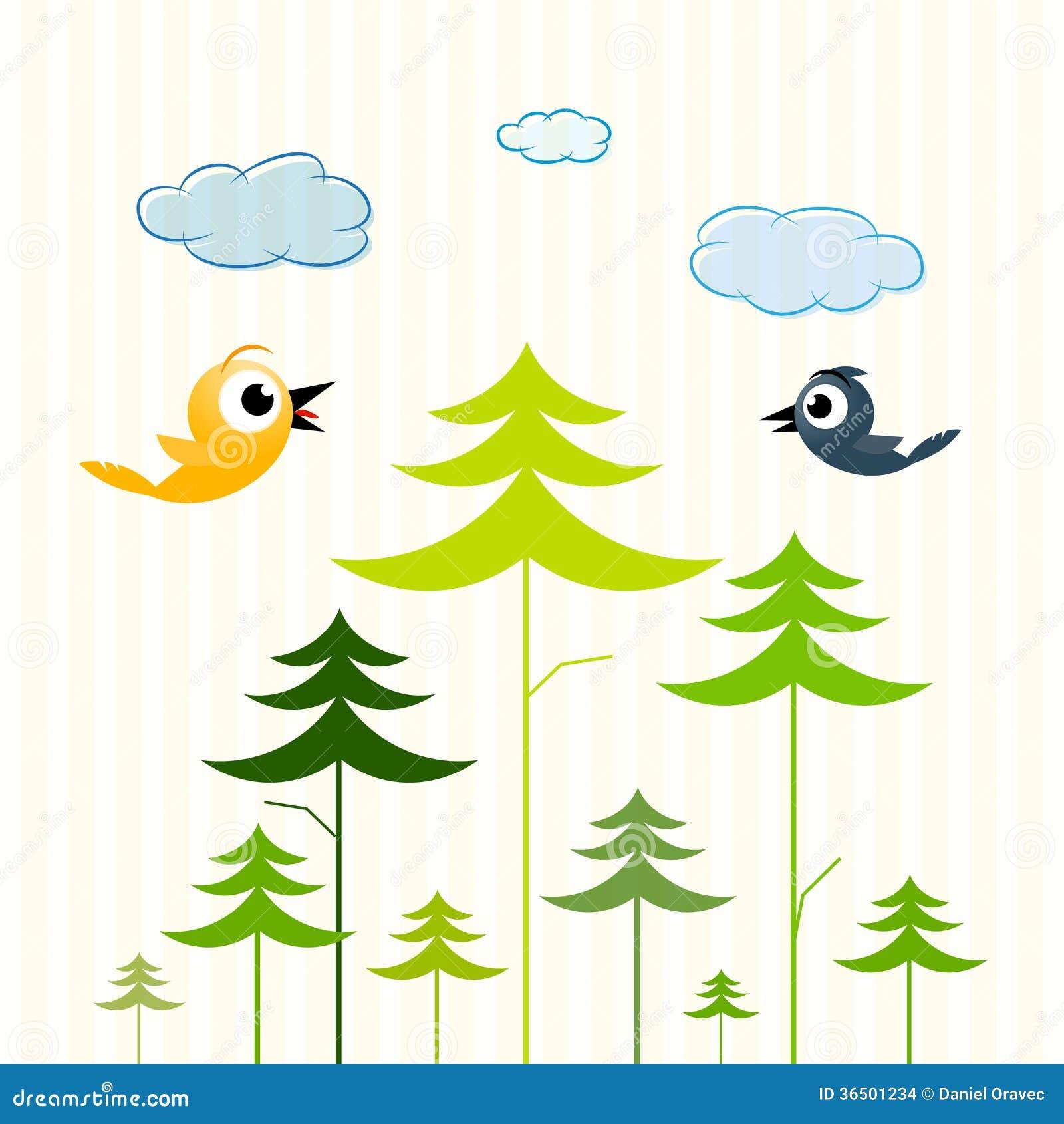 Arbres, oiseaux et nuages de papier
