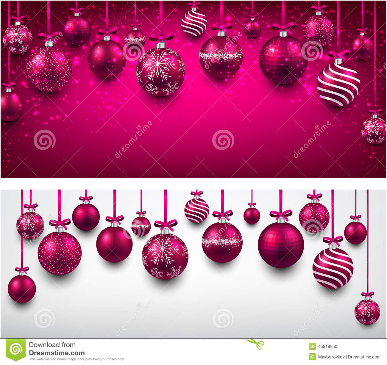 arc background with magenta christmas balls  stock vector