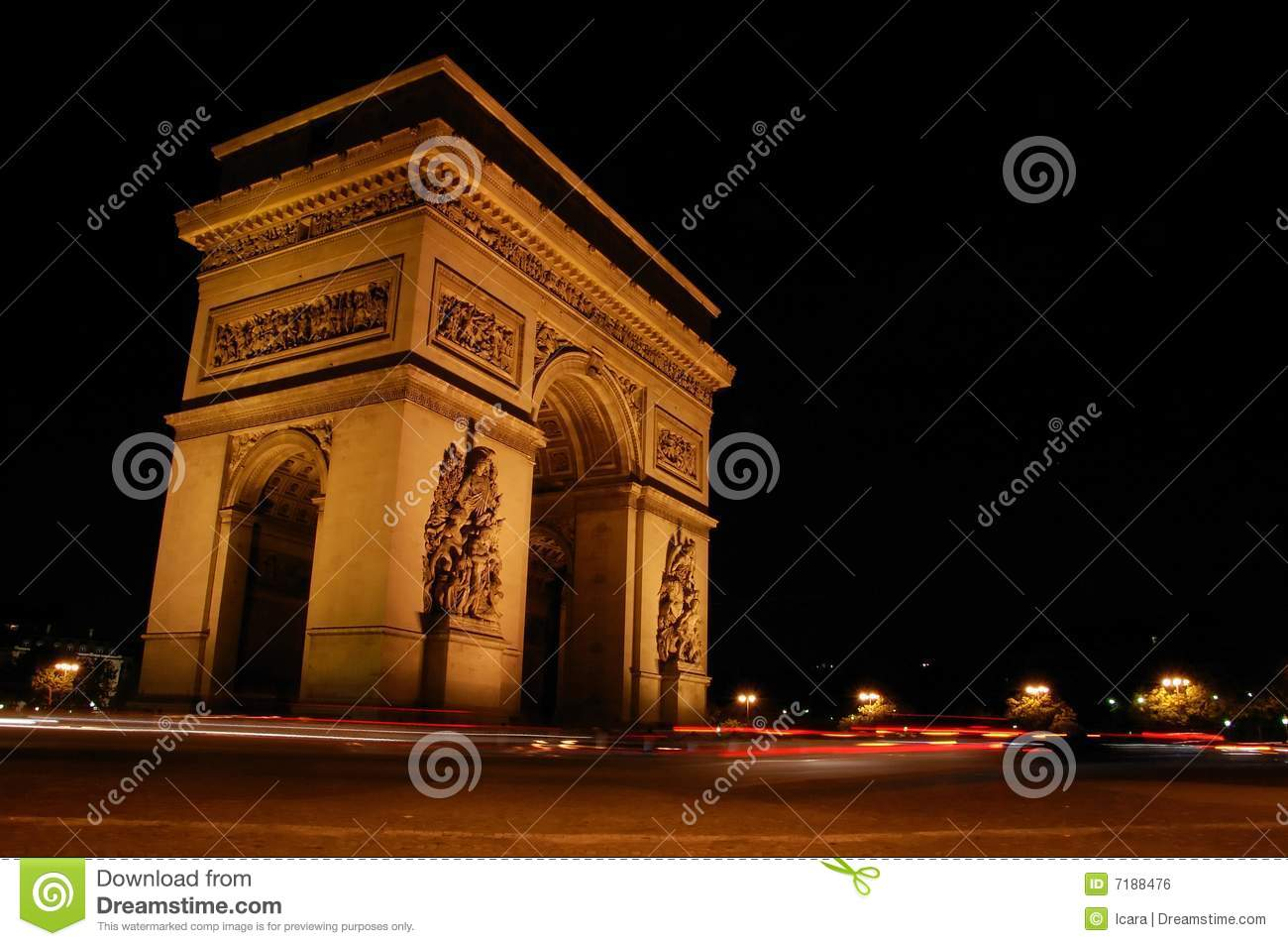 Arc de night scene triomphe