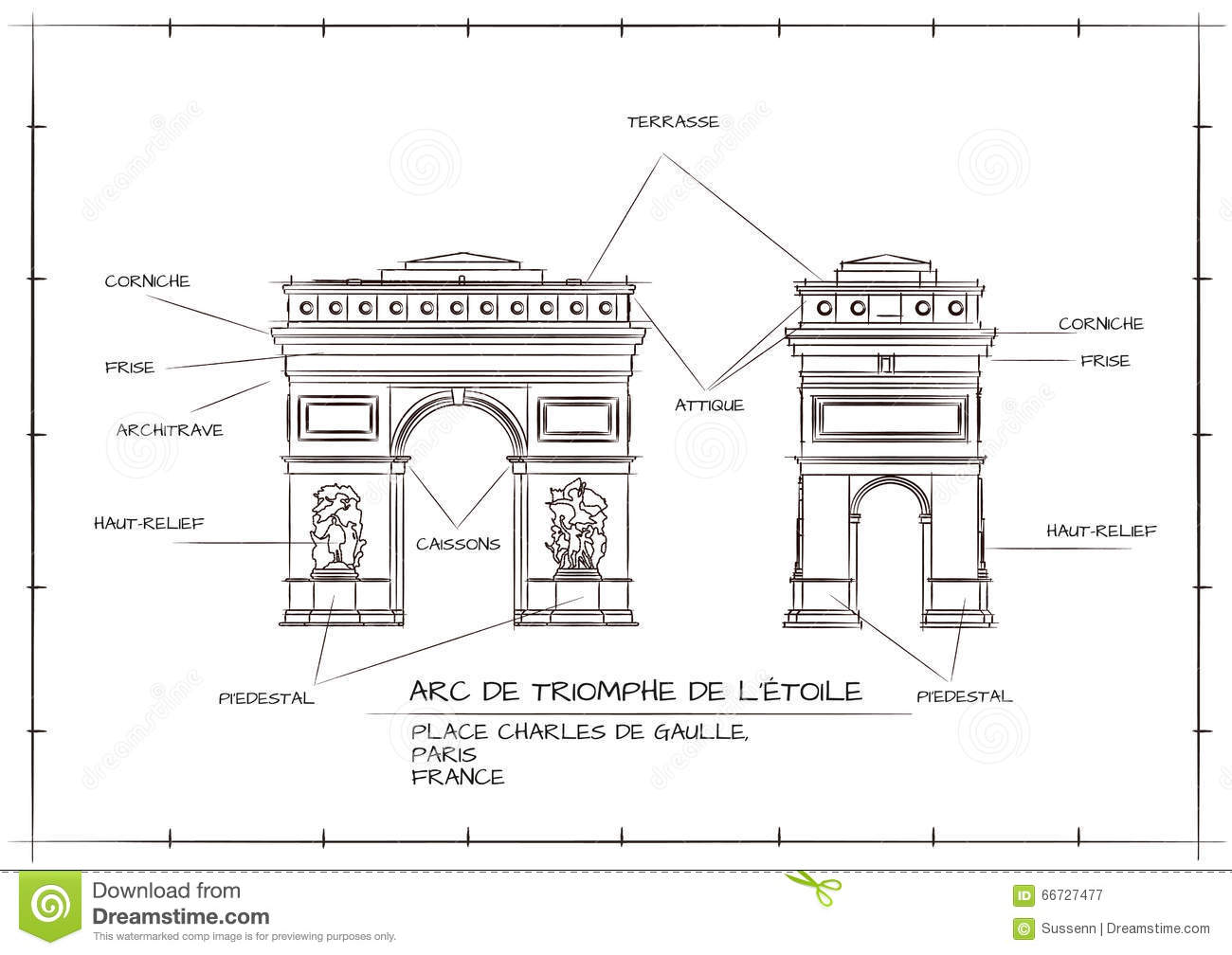 Arc de triomphe illustration de vecteur image 66727477 for Architecture technique