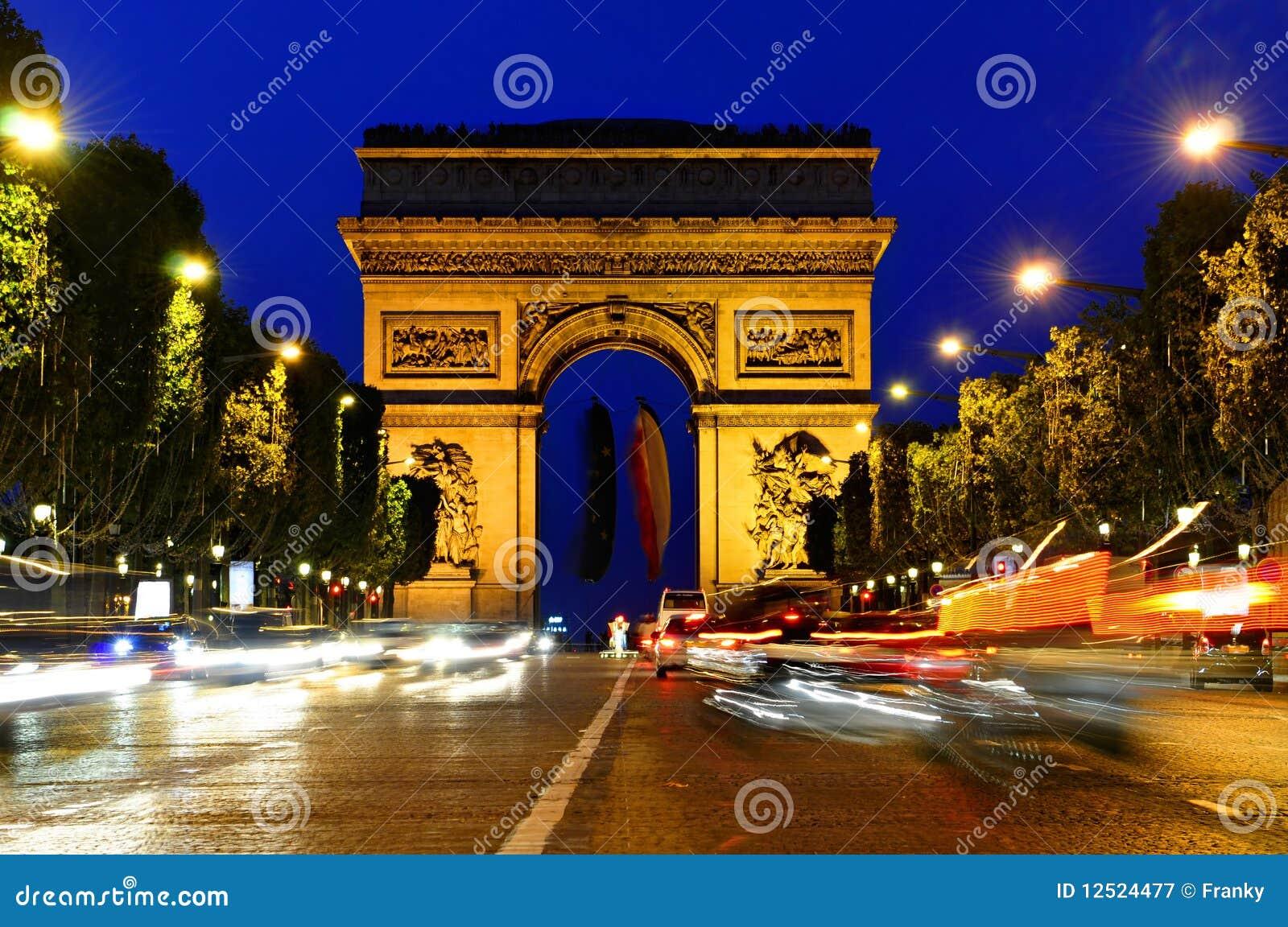 Download Arc De Triomphe - Arch Of Triumph, Paris, France Stock Image - Image of champs, dusk: 12524477
