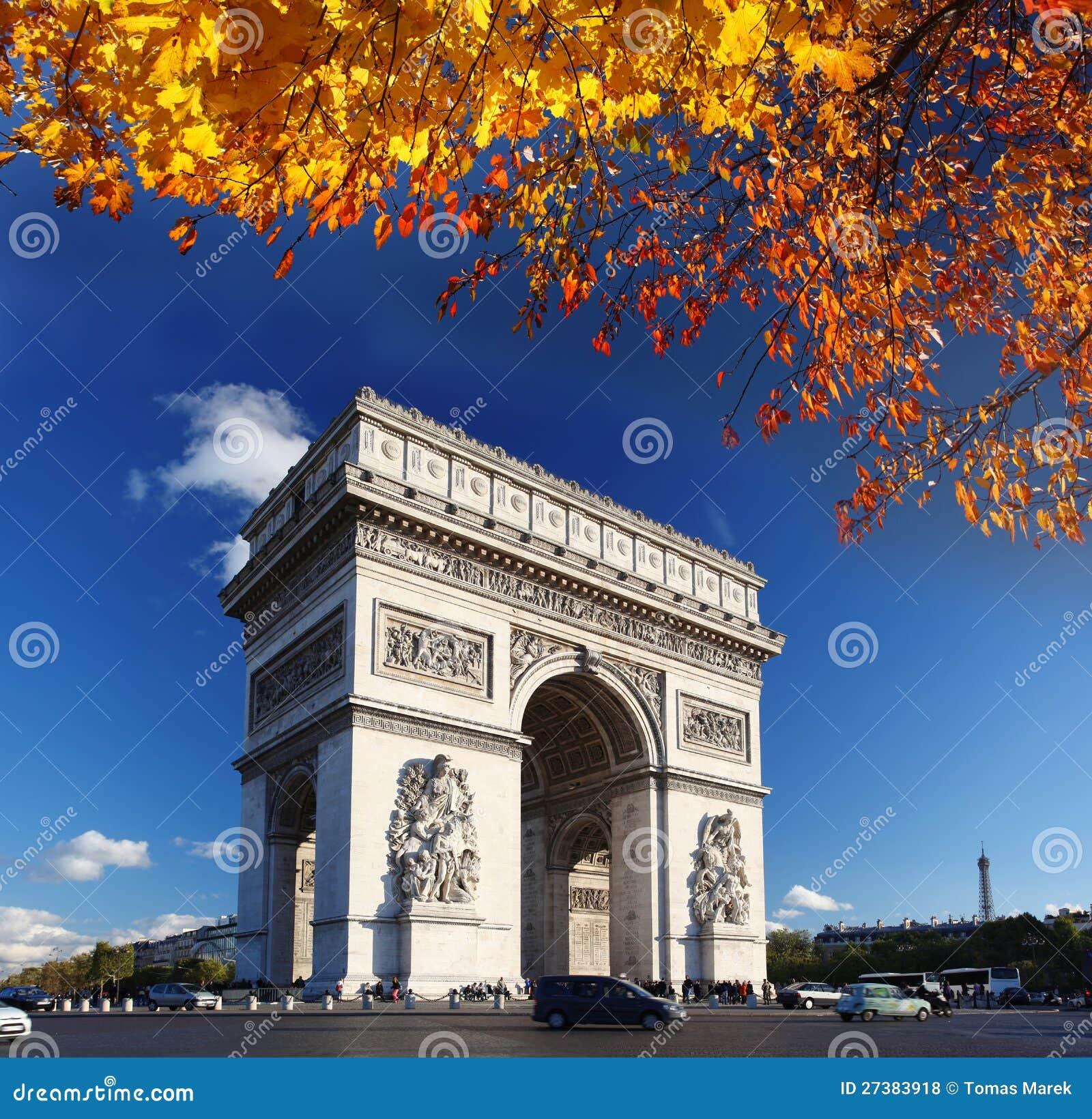 arc de triomphe in de herfst parijs stock foto afbeelding bestaande uit champs rotonde. Black Bedroom Furniture Sets. Home Design Ideas