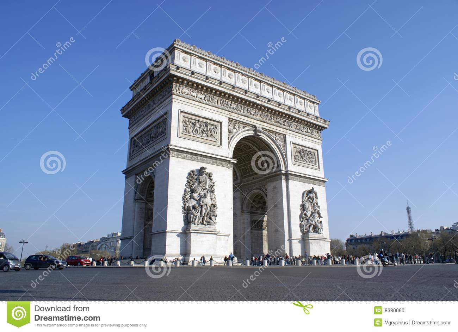 Arc de Triomphe, Parigi, con la Torre Eiffel