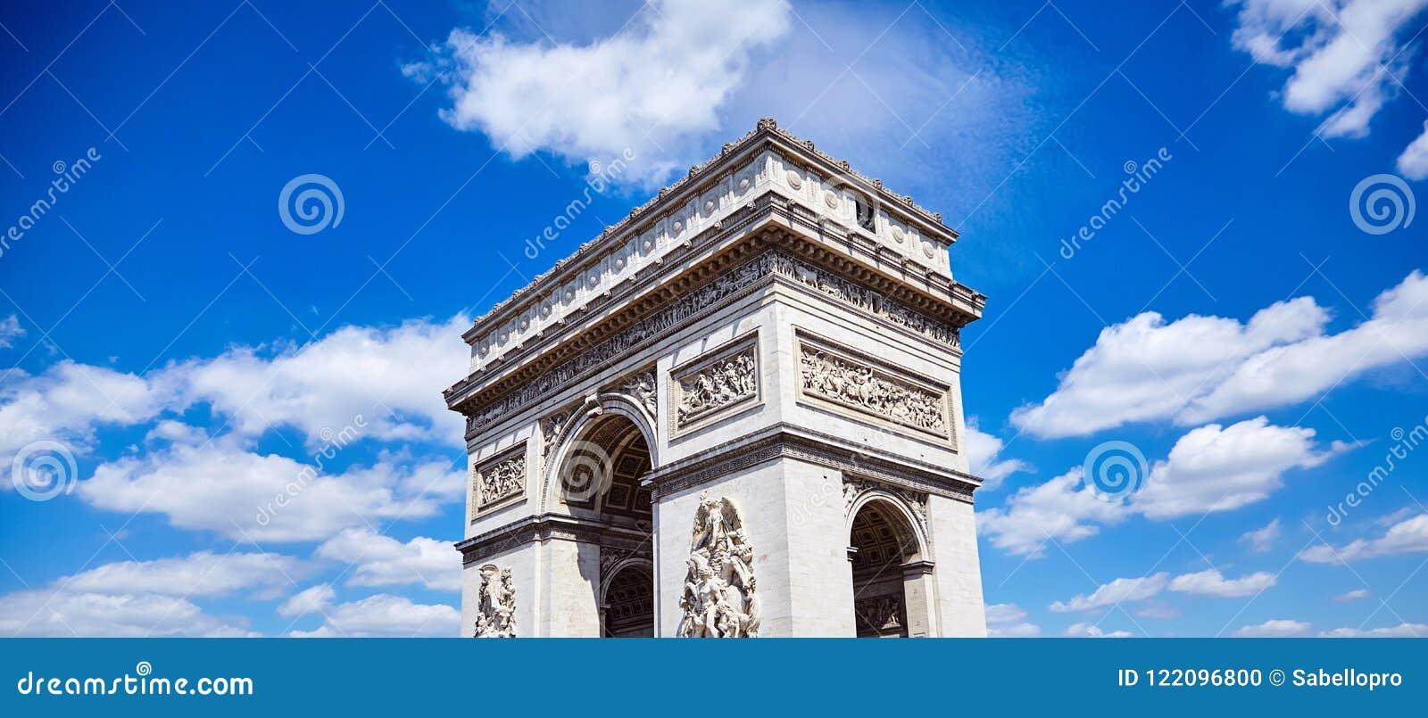 Arc de Triomphe triumf- båge i Champs-Elysees, Paris, franc