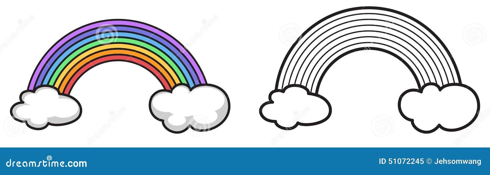 Coloriage Darc En Ciel En Ligne.Arc En Ciel Colore Et Noir Et Blanc Pour Livre De Coloriage