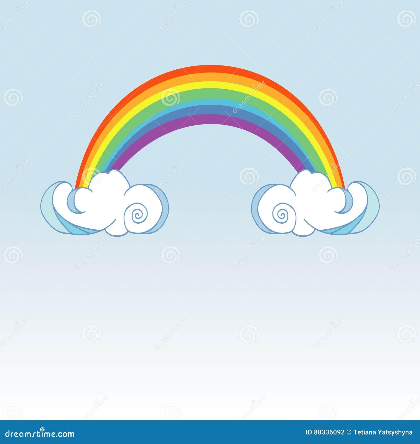 Arc en ciel et nuages pleuvants sur le fond de couleur for Arc et types