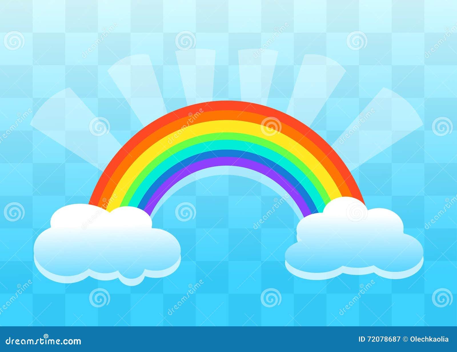 Arc en ciel Et Nuages Style De Papier Plat Fond Transparent Illustration Stock Image