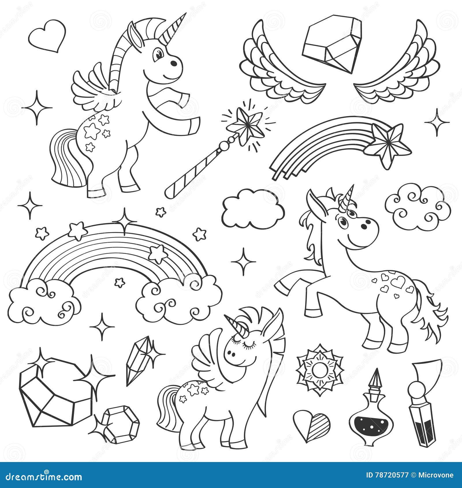 Arc-en-ciel magique de licorne, ailes féeriques, étoiles et cristaux dans l ensemble tiré par la main de vecteur de style d ensem