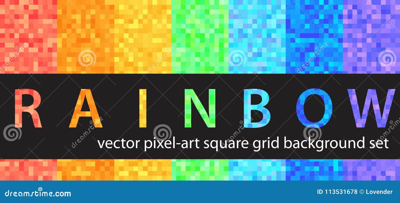 Arc En Ciel Réglé De Modèle De Pixel Milieux Sans Couture D