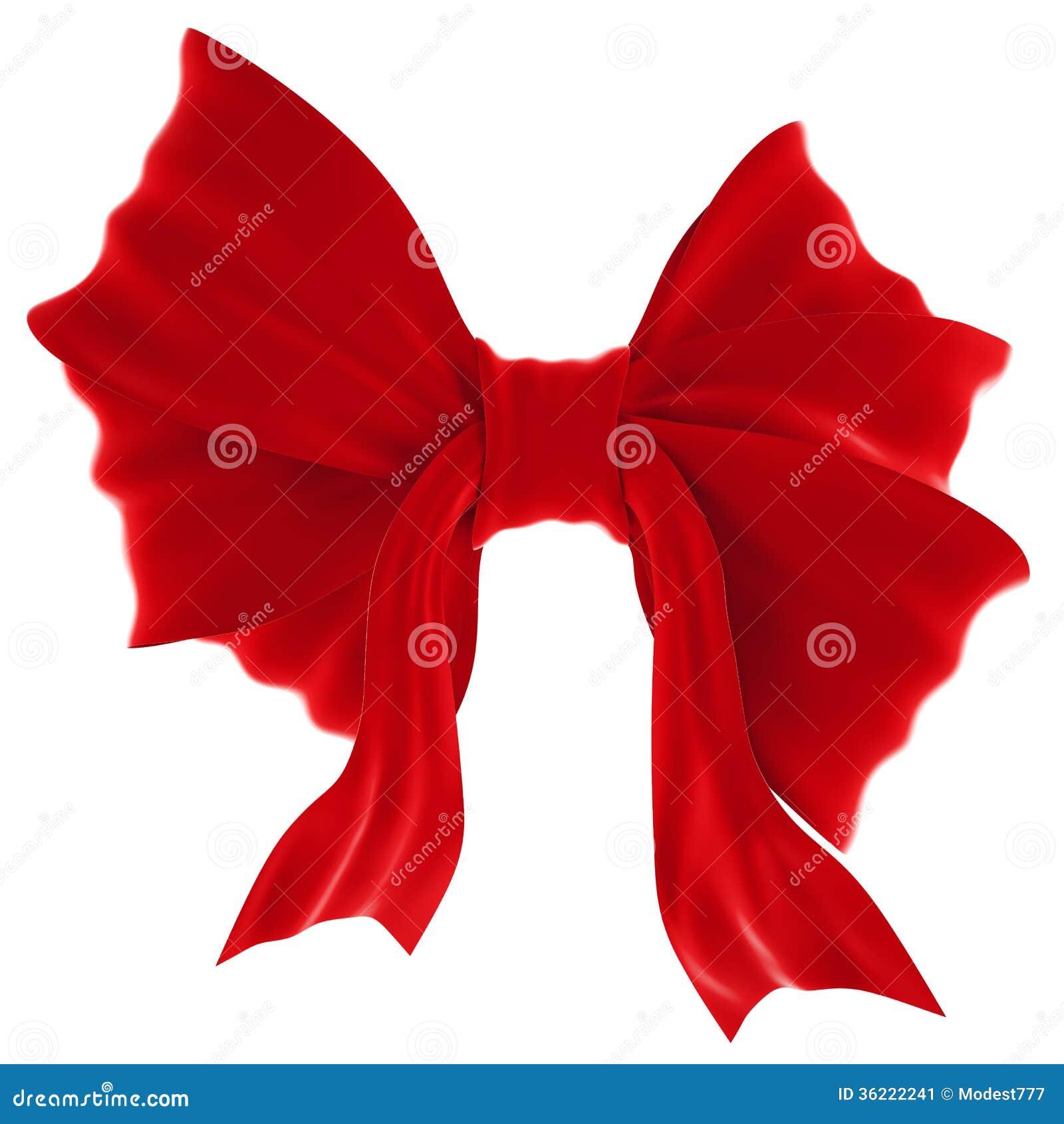 Arc rouge de cadeau de velours. Ruban. D isolement sur le blanc