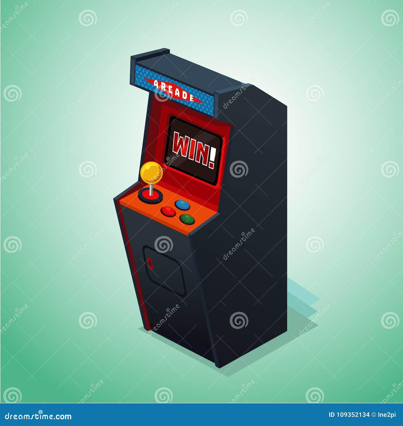 Arcade μηχανή αναδρομική Απομονωμένος στο άσπρο τηλεοπτικό παιχνίδι