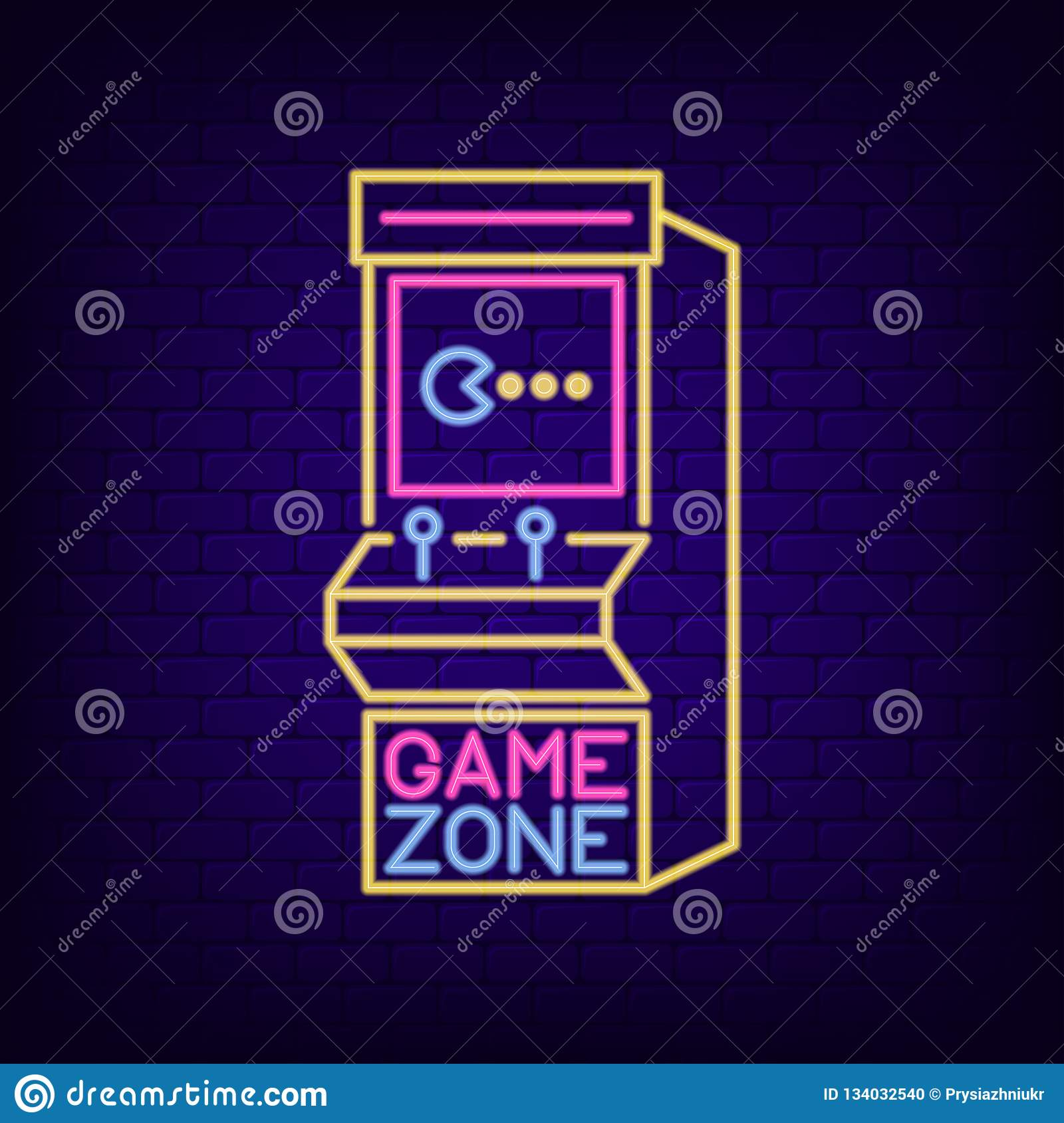 Arcade game machine neon sign. Game Zone night light signboard with retro slot machine. Gaming advertising neon banner. Vector.