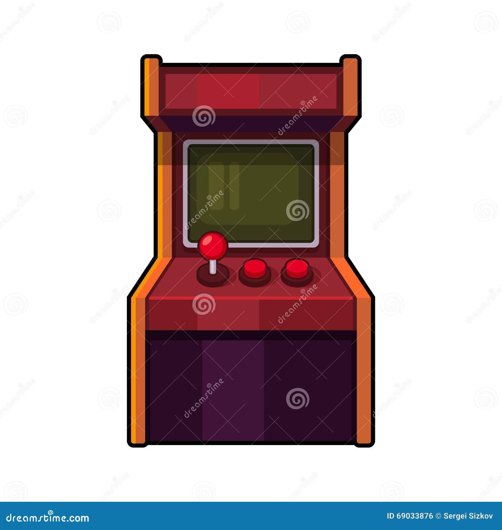 Arcade Machine clássico Armário do jogo do estilo antigo Vetor