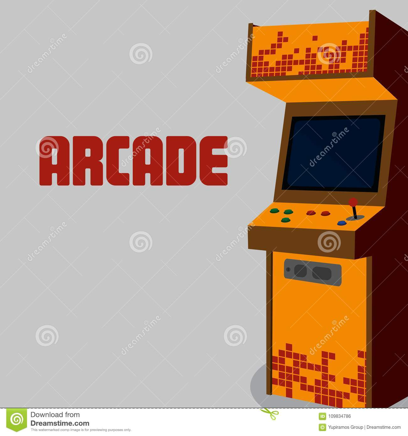Arcade machine design stock vector. Illustration of home - 109834786