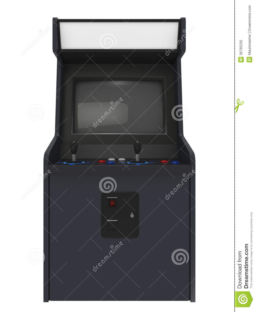Arcade Machine Front View Royalty Free Stock Photo Image