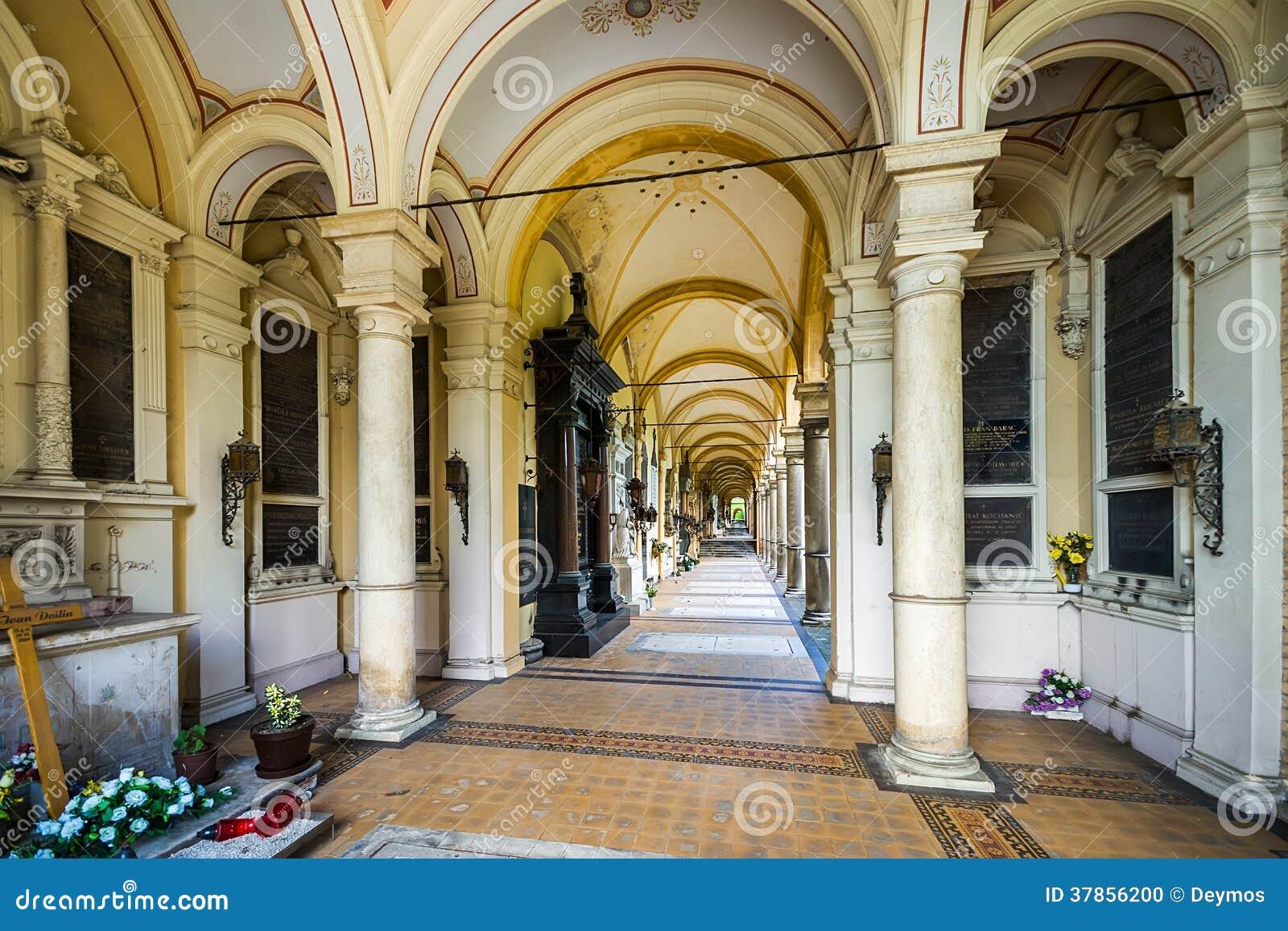 Arcades at Mirogoj Cemetery in Zagreb, Croatia