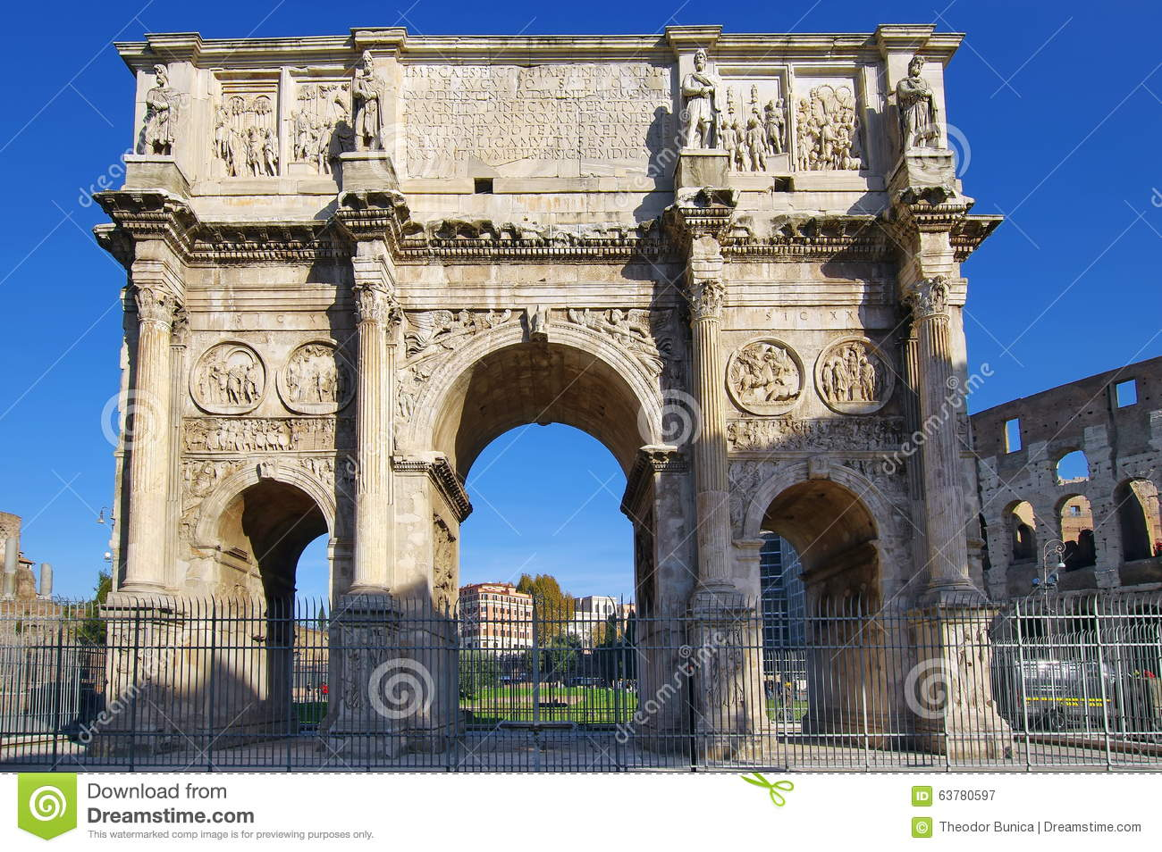 The Arch of Constantine - landmark attraction in Rome, Italy