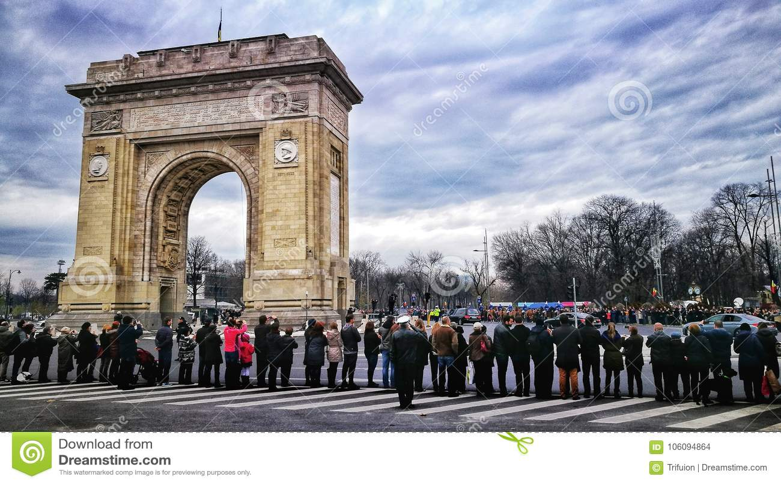 Arch de Triumph布加勒斯特罗马尼亚国王Mihai I Funerals -