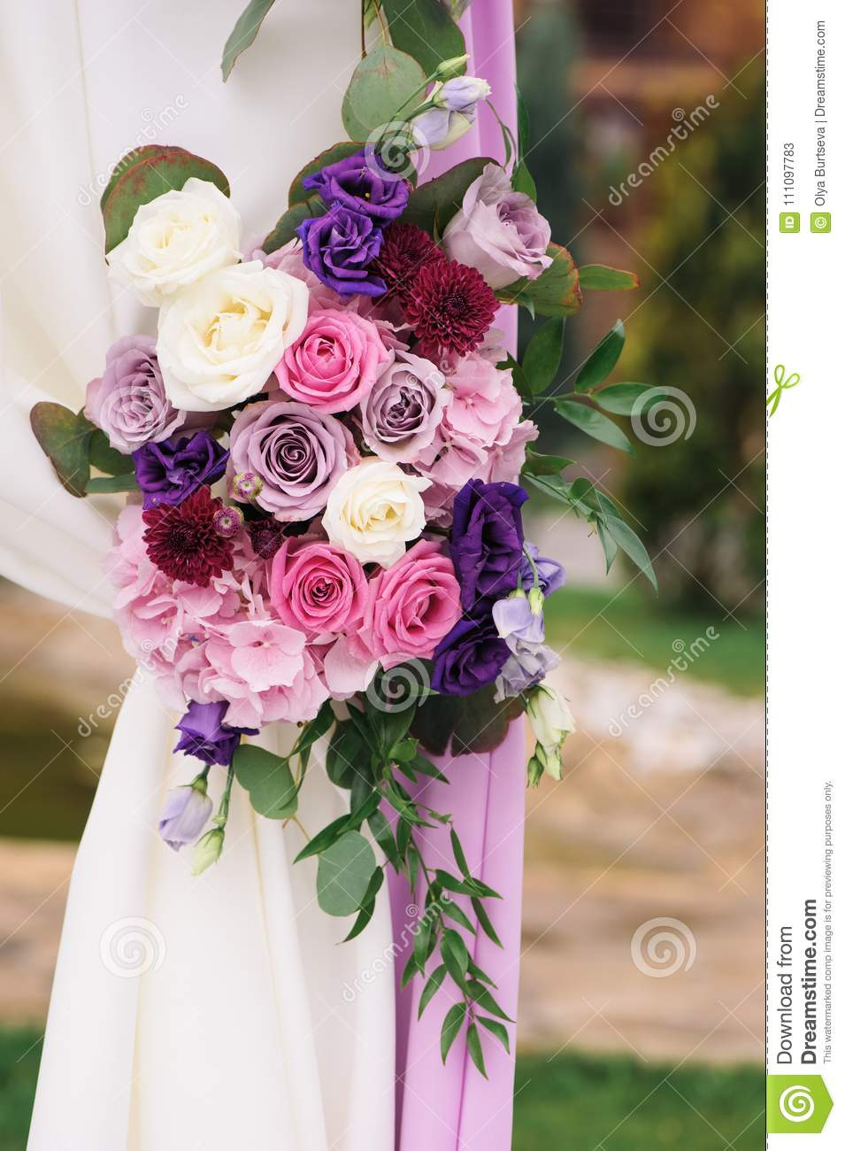Arch Element With Flowers For Wedding Decorations Stock Image