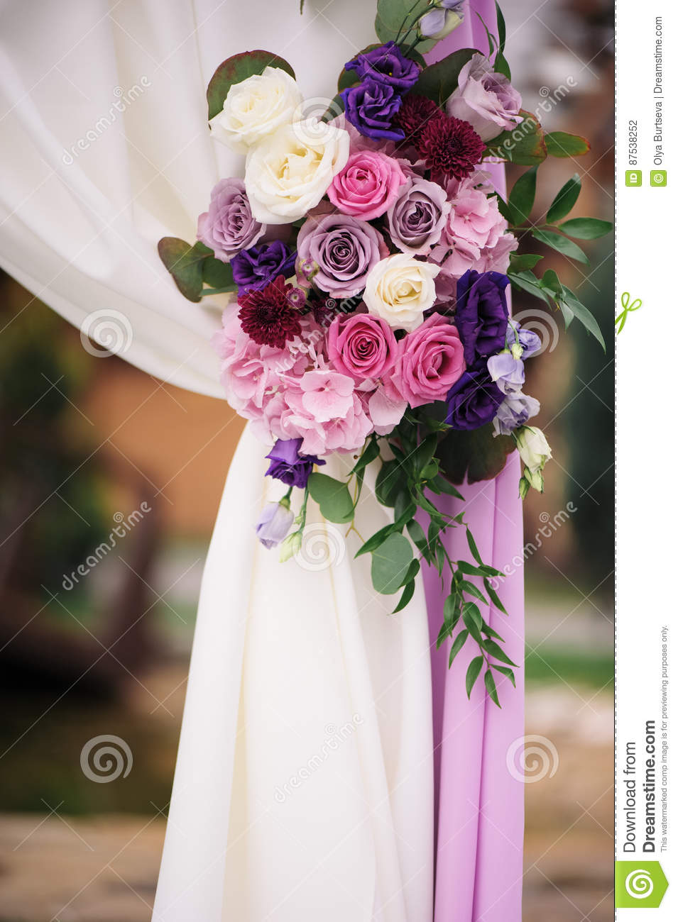 Arch Element With Flowers For Wedding Decorations Stock Photo