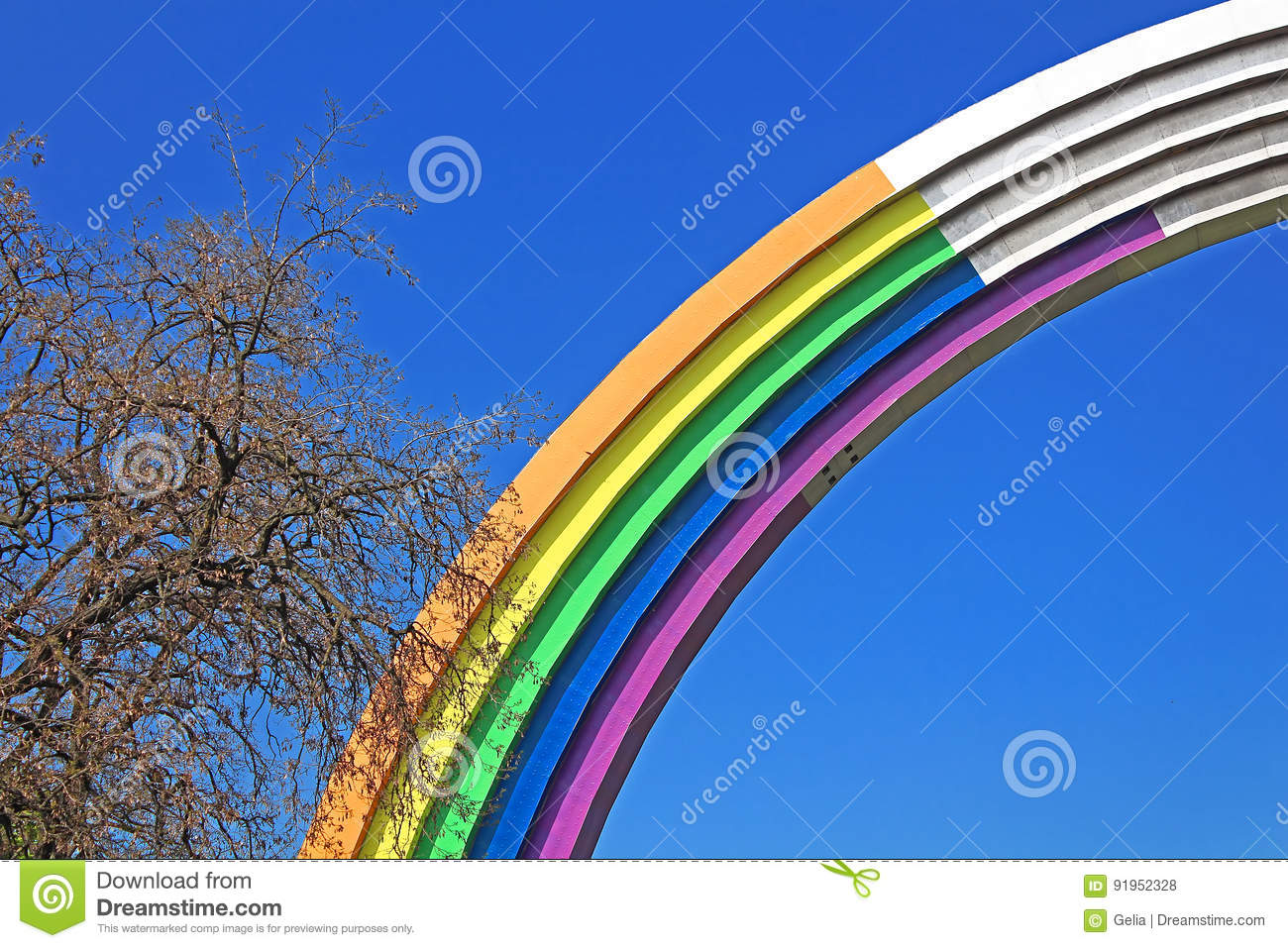 Arch Of Friendship Of Peoples Painted In Colors Of The Rainbow In Preparation For The Song Contest Eurovision 2017 Editorial Stock Photo Image Of Contest People 91952328