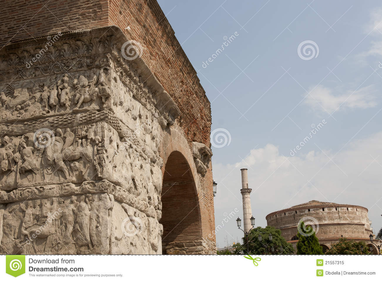 Arch Of Galerius In Background Rotunda With Minar Royalty ...