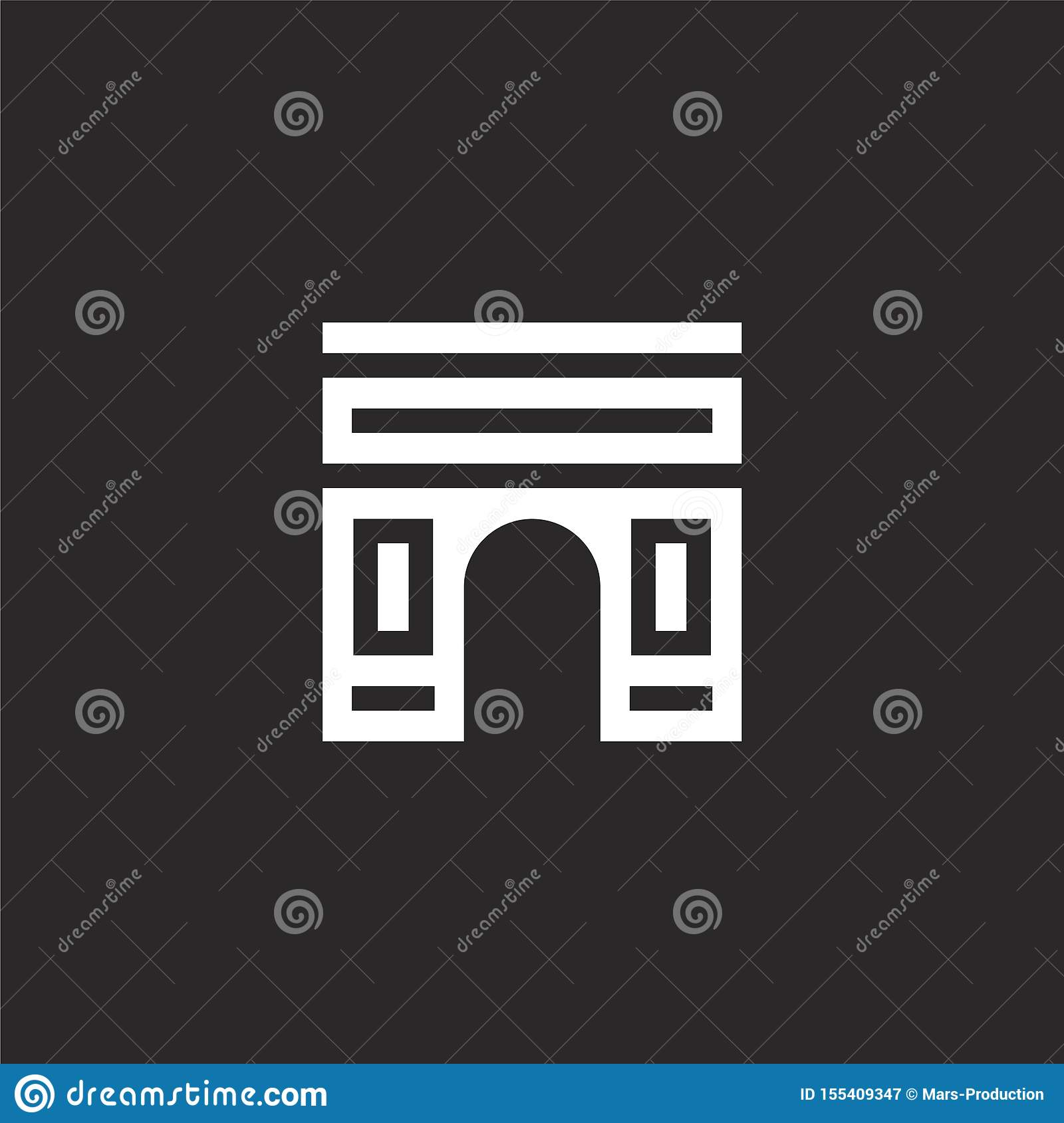 arch icon. Filled arch icon for website design and mobile, app development. arch icon from filled city life collection isolated on