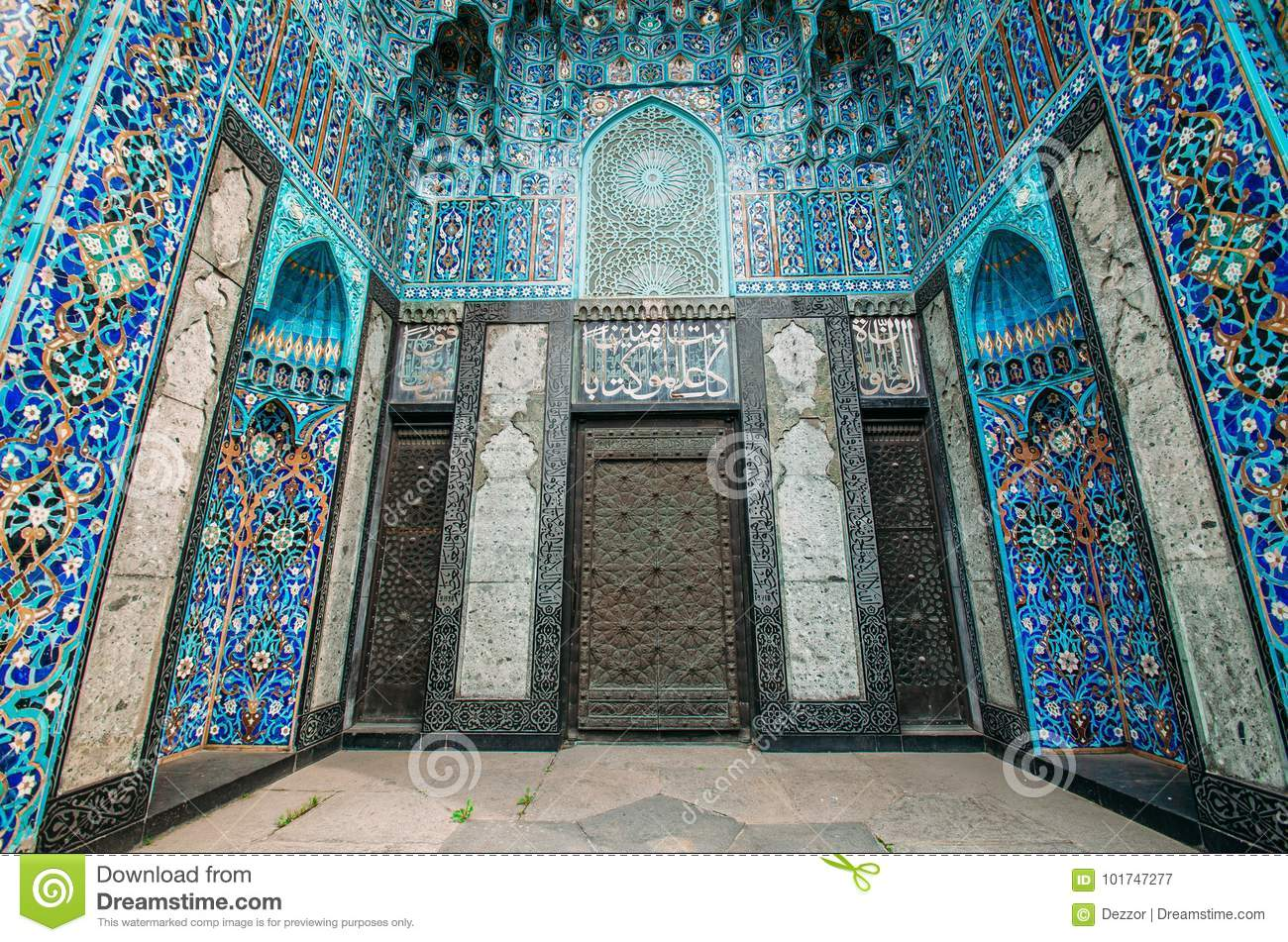 the arch of the mosque in blue tones is made from the mosaic of the islamic religion stock. Black Bedroom Furniture Sets. Home Design Ideas
